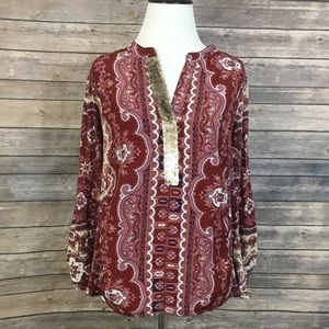 Anthropologie Tiny Sequin Paisley Blouse